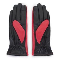 Damskie rękawiczki z dwóch kolorów skóry, czerwono - czarny, 39-6-649-3-V, Zdjęcie 1
