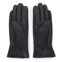 Damskie rękawiczki skórzane z guzikami, czarny, 39-6-651-1-V, Zdjęcie 1