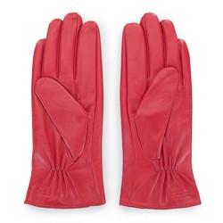 Damskie rękawiczki skórzane z guzikami, czerwony, 39-6-651-3-V, Zdjęcie 1