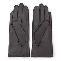Damskie rękawiczki ze skóry z wycięciem, ciemny brąz, 39-6L-213-BB-V, Zdjęcie 1