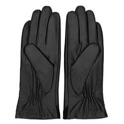 Damskie rękawiczki ze skóry z zamszową wstawką, czarny, 44-6-525-1-S, Zdjęcie 1