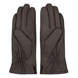 Damskie rękawiczki ze skóry z zamszową wstawką, brązowy, 44-6-525-BB-S, Zdjęcie 1