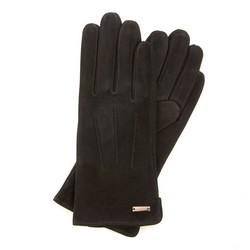 Damskie rękawiczki zamszowe z przeszyciami, czarny, 44-6-910-1-V, Zdjęcie 1