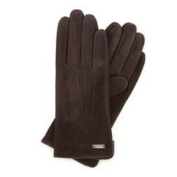 Damskie rękawiczki zamszowe z przeszyciami, ciemny brąz, 44-6-910-BB-L, Zdjęcie 1