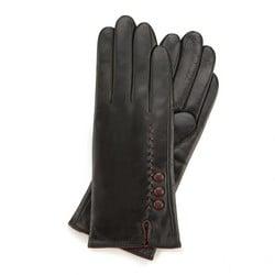 Rękawiczki damskie skórzane z rzemykiem, czarno - fioletowy, 44-6-911-1-M, Zdjęcie 1