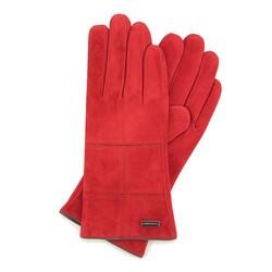 Damskie rękawiczki zamszowe z przeszyciami, czerwony, 44-6-912-2T-X, Zdjęcie 1