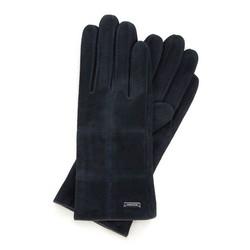 Damskie rękawiczki zamszowe z przeszyciami, ciemny granat, 44-6-912-TQ-V, Zdjęcie 1