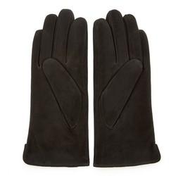 Damskie rękawiczki zamszowe z przeszyciami, czarny, 44-6-910-1-S, Zdjęcie 1