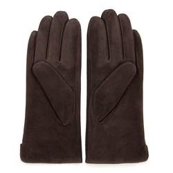 Damskie rękawiczki zamszowe z przeszyciami, ciemny brąz, 44-6-910-BB-M, Zdjęcie 1