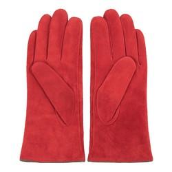 Damskie rękawiczki zamszowe z przeszyciami, czerwony, 44-6-912-2T-M, Zdjęcie 1