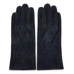 Damskie rękawiczki zamszowe z przeszyciami, ciemny granat, 44-6-912-TQ-S, Zdjęcie 1