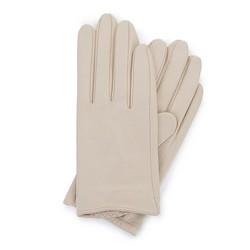 Damskie rękawiczki z gładkiej skóry, kremowy, 46-6-309-A-L, Zdjęcie 1