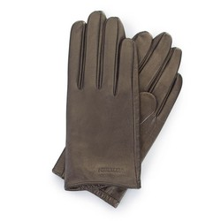 Damskie rękawiczki z gładkiej skóry, ciemny brąz, 46-6-309-G-X, Zdjęcie 1