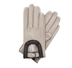Damskie rękawiczki skórzane samochodowe, ecru, 46-6L-292-6A-L, Zdjęcie 1