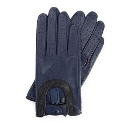 Damskie rękawiczki skórzane samochodowe, granatowo - czarny, 46-6L-292-GN-X, Zdjęcie 1