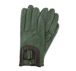 Damskie rękawiczki skórzane samochodowe, zielony, 46-6L-292-Z-L, Zdjęcie 1