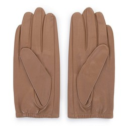 Damskie rękawiczki z gładkiej skóry, jasny brąz, 46-6-309-L-V, Zdjęcie 1