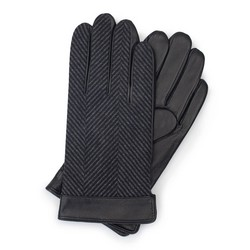 Men's gloves, black-grey, 39-6-714-1-M, Photo 1