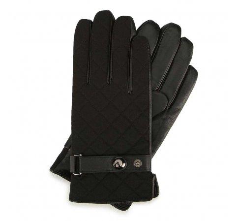 Męskie rękawiczki skórzane ocieplane z paskiem, czarny, 39-6-951-1-M, Zdjęcie 1