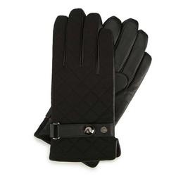 Męskie rękawiczki skórzane pikowane, czarny, 39-6-951-1-XL, Zdjęcie 1