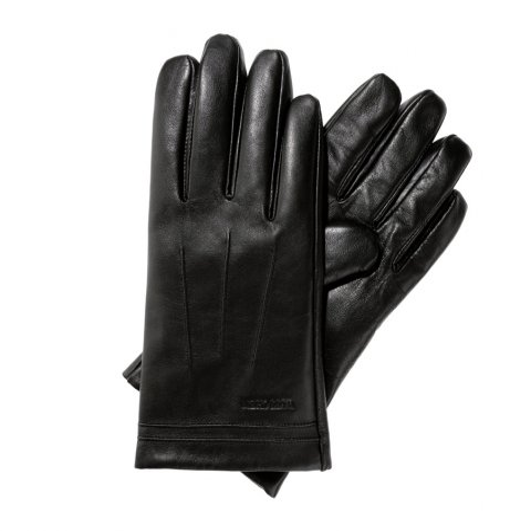 Rękawiczki męskie skórzane ocieplane, czarny, 39-6L-343-1-L, Zdjęcie 1