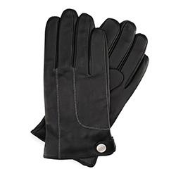 Męskie rękawiczki ze skóry ocieplane, czarny, 39-6L-950-1-L, Zdjęcie 1