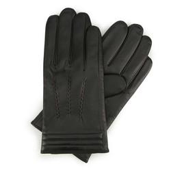 Męskie rękawiczki skórzane z ociepleniem stębnowane, czarny, 44-6-718-1-L, Zdjęcie 1