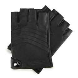 Męskie rękawiczki skórzane bez palców, czarny, 46-6-390-1-S, Zdjęcie 1