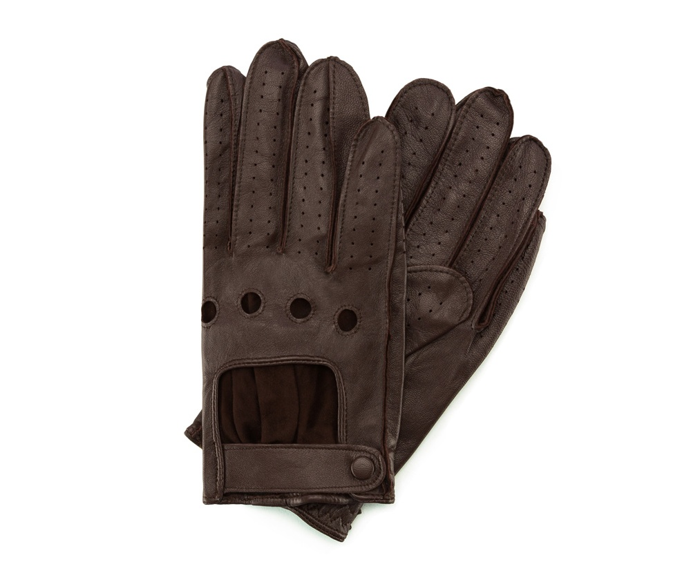 Перчатки мужскиеМужские автомобильные перчатки, изготовлены из натуральной кожи высокого качества. Преимущества модели-это функциональность, превлекательность и застежка липучка, которая позволяет отрегулировать перчатки под ширину вашей руки.         Размер  V  S  M  L  XL      Длина (cм)  20,5  21  21,5  22  22,5      Ширина (cм)  9,5  10  10,5  11  11,5      Длина среднего палеца (cм)  7,5  8  8,5  9  9,5<br><br>секс: мужчина<br>Цвет: коричневый<br>Размер INT: S<br>материал:: Натуральная кожа