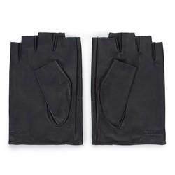 Męskie rękawiczki skórzane samochodowe na rzep, czarny, 46-6-387-1-X, Zdjęcie 1