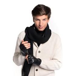 Męskie rękawiczki skórzane bez palców, czarny, 46-6-390-1-L, Zdjęcie 1