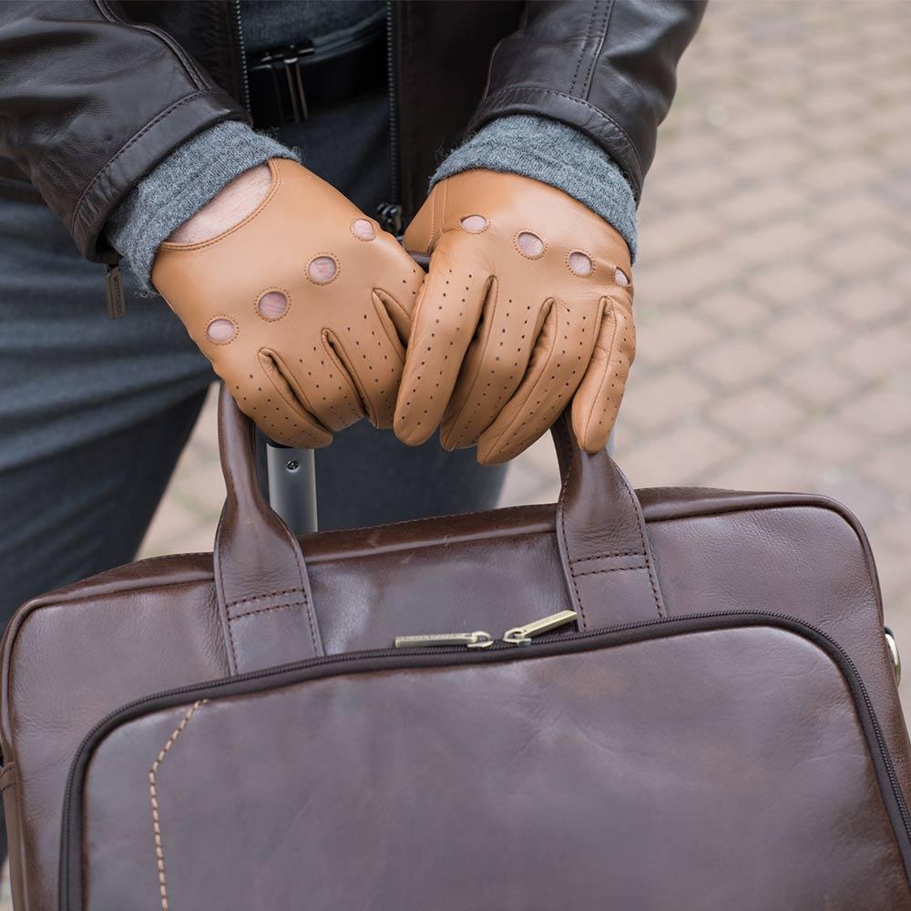 Rękawiczki męskie, camelowy, 46-6L-381-LB-M, Zdjęcie 1