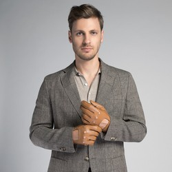Rękawiczki męskie, camelowy, 46-6L-386-LB-M, Zdjęcie 1