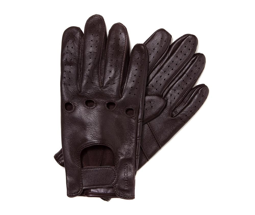 Перчатки мужские автомобильныеМужские автомобильные перчатки, изготовлены из натуральной кожи высокого качества. Преимущества модели-это функциональность, застежка на липучке облегчающая надевание и вшитая эластичная резинка, благодаря которой перчатки лучше прилегают.       Размер  V  S  M  L  XL      Длина (cм)  21  21,5  22  22,5  23      Ширина (cм)  10  10,5  11  11,5  12      Длина среднего палеца (cм)  8  8,5  9  9,5  10<br><br>секс: мужчина<br>Цвет: коричневый<br>Размер INT: V<br>вид:: автомобильные<br>материал:: Натуральная кожа