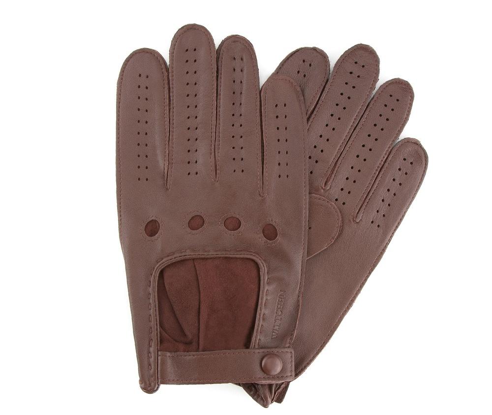 Перчатки мужские автомобильныеМужские автомобильные перчатки,сделан из натуральной кожи высокого качества. Преимущества модели-это функциональность, застежка на липучке облегчающая надевание и вшитая эластичная резинка, благодаря которой перчатки лучше прилегают.              Размер    V    S    M    L    XL           Длина (cм)    21    21,5    22    22,5    23           Ширина (cм)    10    10,5    11    11,5    12           Длина среднего палеца (cм)    8    8,5    9    9,5    10<br><br>секс: мужчина<br>Цвет: коричневый<br>Размер INT: L<br>материал:: Натуральная кожа