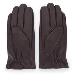 Męskie rękawiczki z gładkiej skóry, ciemny brąz, 45-6-457-B-M, Zdjęcie 1
