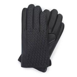 Męskie rękawiczki z plecionej skóry, czarny, 39-6-345-1-V, Zdjęcie 1