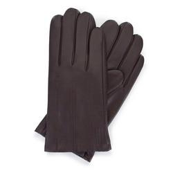 Męskie rękawiczki ze skóry z przeszyciami, ciemny brąz, 44-6-457-B-M, Zdjęcie 1