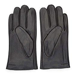 Męskie rękawiczki ocieplane skórzane z przeszyciami, czarny, 39-6-718-1-L, Zdjęcie 1