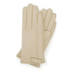 Damskie rękawiczki skórzane z kokardką, kremowy, 39-6-551-A-M, Zdjęcie 1