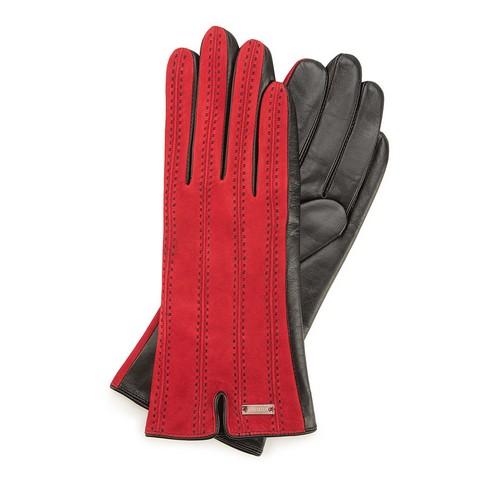 Rękawiczki damskie, czerwono - czarny, 39-6-912-2T-S, Zdjęcie 1