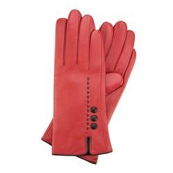 Damskie rękawiczki skórzane z przeszyciem z rzemyka, czerwono - czarny, 39-6-913-2T-L, Zdjęcie 1
