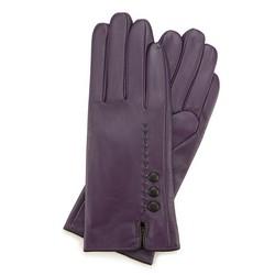 Damskie rękawiczki skórzane z przeszyciem z rzemyka, fioletowo - czarny, 39-6-913-F-M, Zdjęcie 1