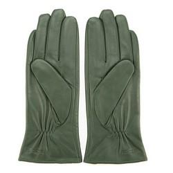 Damskie rękawiczki ze skóry z kokardką, zielony, 39-6-536-Z-S, Zdjęcie 1