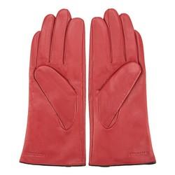 Damskie rękawiczki skórzane z przeszyciem z rzemyka, czerwono - czarny, 39-6-913-2T-M, Zdjęcie 1