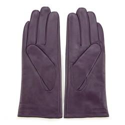 Damskie rękawiczki skórzane z przeszyciem z rzemyka, fioletowo - czarny, 39-6-913-F-S, Zdjęcie 1