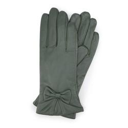 Damskie rękawiczki skórzane z kokardką, khaki, 39-6-550-Z-X, Zdjęcie 1