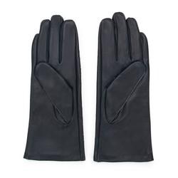 Damskie rękawiczki skórzane z ozdobnymi przeszyciami, czarny, 45-6-235-1-V, Zdjęcie 1