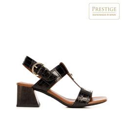 Sandały ze skóry croco na słupku, czarny, 92-D-165-1-37, Zdjęcie 1