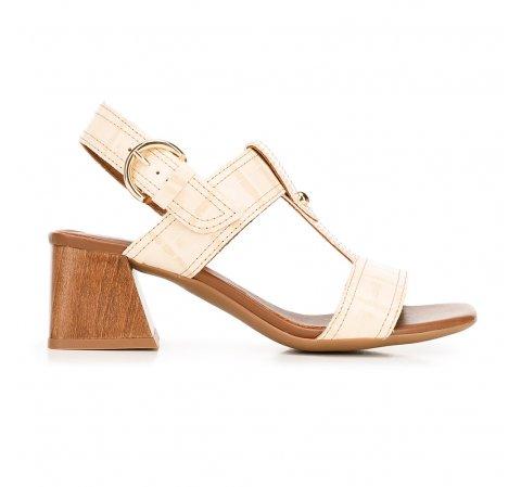 Sandały ze skóry croco na słupku, beżowy, 92-D-165-1-36, Zdjęcie 1